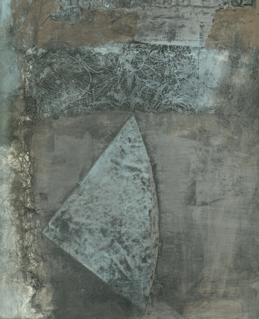 Abstract painting with a blad shap in blue and grey tones
