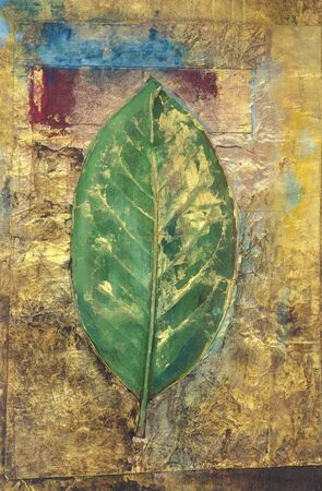 beginnings: Leaf painting green on gold with blue and red details  Stock Photo