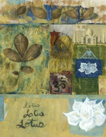 Yoga mixed media art collage with leaves and lotus blossoms and the Taj Mahal