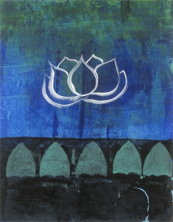 Abstract lotus blossom painting