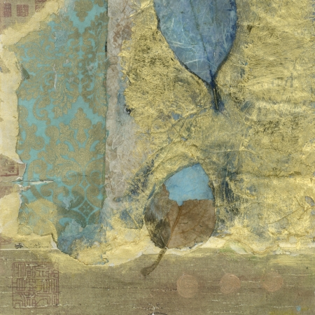 Abstract mixed medium collage wabi-sabi leaves