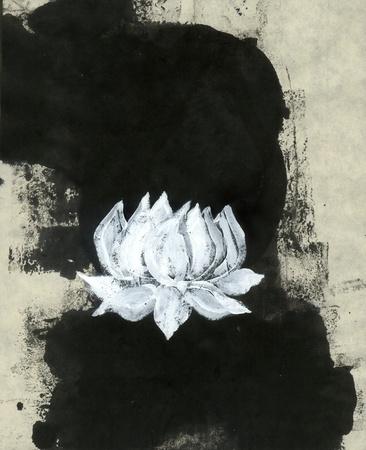 Zen painting lotus blossom Imagens - 15512595
