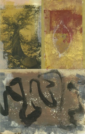 Mixed medium art work with a wild cedar tree, leaf painting, and black ink abstract