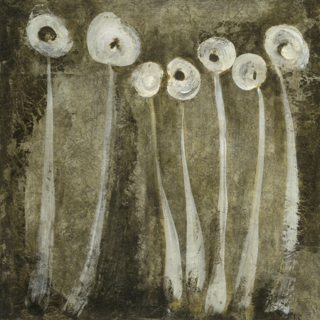 Abstract painting with white flowers