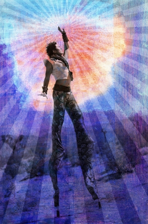 Embody your highest Self. Man on stilts surrounded by rays. Stockfoto
