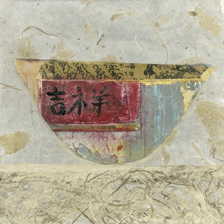 Abstract asian paper collage of a bowl with the chinese character for luck.