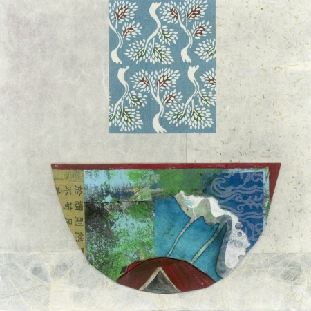 rice paper: Abstract asian paper collage of a bowl.