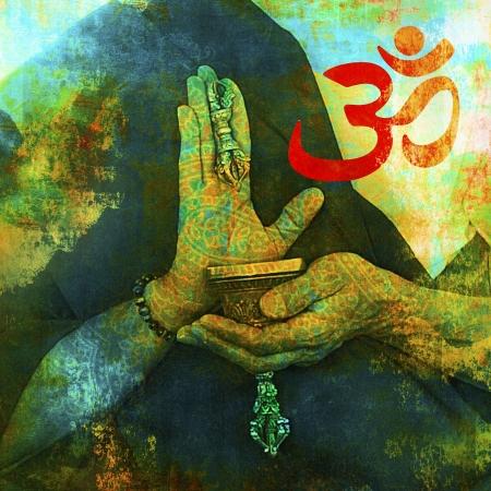 Om sign with Buddhist hands.  Foto de archivo