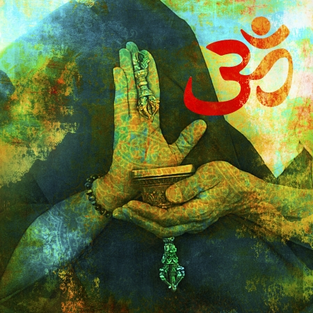 Om sign with Buddhist hands.  Stock Photo