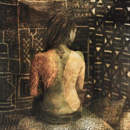 poezie: Vrouw met tatoeages en body markering overlays Stockfoto