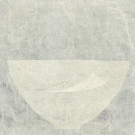 Abstract asian paper collage of a bowl