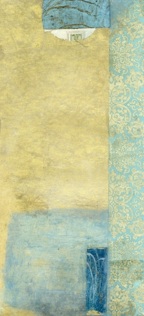 opulence: Abstract painting with blue and gold tones  and collage of royal blue and gold paper