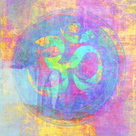 sanskrit: Om sign illustrated with higher chakra colors