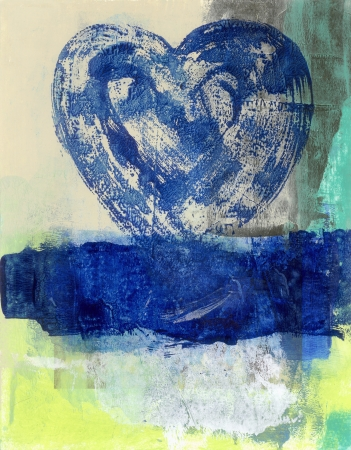Abstract painting of a blue heart rising from a blue water