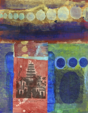 Abstract painting with pagoda collage
