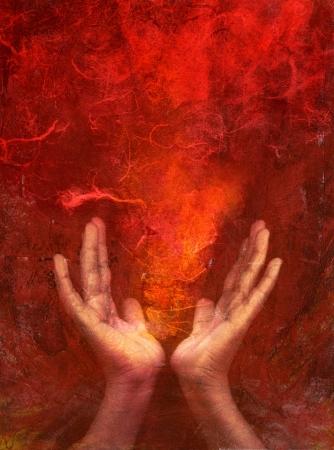 concept magical universe: Fotos im�genes basadas en medios mixtos de manos con rojo Foto de archivo