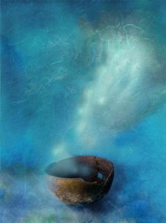 rituales: Un taz�n de fuente antiguo con humo saliendo de �l es m�s profundo.