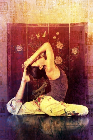 Woman in eka pada raja kopatasana in an asian setting   photo