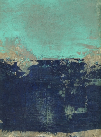 Abstract painting with blue, turquoise and brown tones   Stock Photo