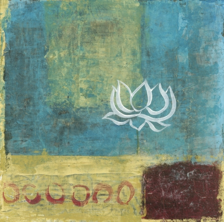 Abstract background painting with a single simple lous blossom