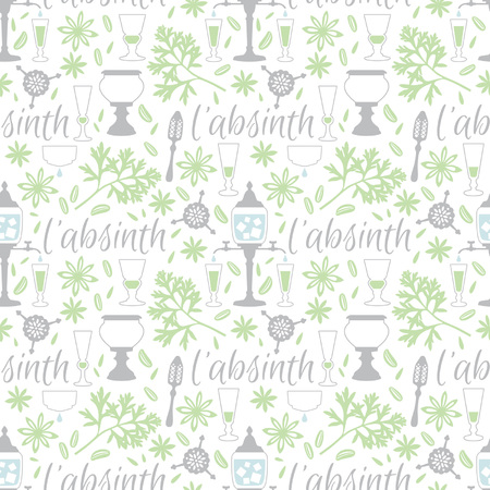 Absinthe accessories seamless vector pattern Ilustração