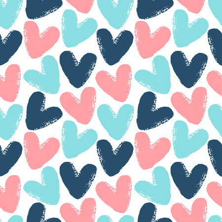 Hearts seamless vector pattern. Valentine Day background. Brush drawn -  rough, artistic edges. Vector