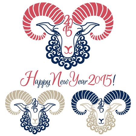 Year of the sheep 2015 vector illustrations set. New Year greetings. Chinese zodiac symbol. 向量圖像