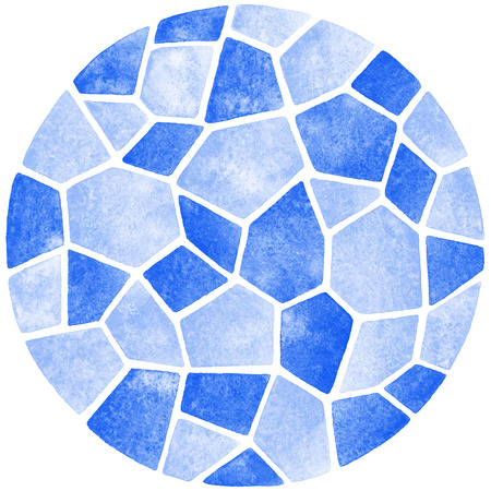 inlay: Abstract watercolor background. Polygonal mosaic pattern. Ceramic tile or inlay stylization. Blue pastel colors.