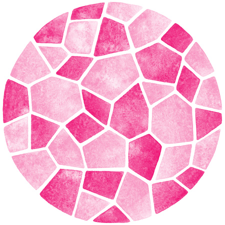 inlay: Abstract watercolor background. Circle shape. Polygonal mosaic pattern. Ceramic tile or inlay stylization. Pink pastel colors. Stock Photo