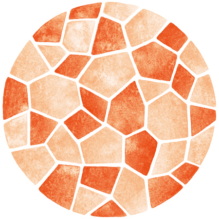 inlay: Abstract watercolor background. Circle shape. Polygonal mosaic pattern. Ceramic tile or inlay stylization. Orange pastel colors.