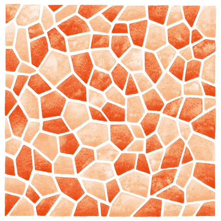 inlay: Abstract square watercolor background. Polygonal mosaic pattern. Ceramic tile or inlay stylization. Orange pastel colors. Stock Photo