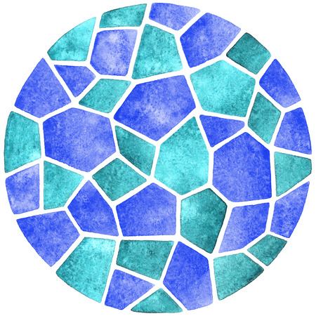 inlay: Abstract watercolor background. Round polygonal mosaic pattern. Ceramic tile or inlay stylization. Circle shape.
