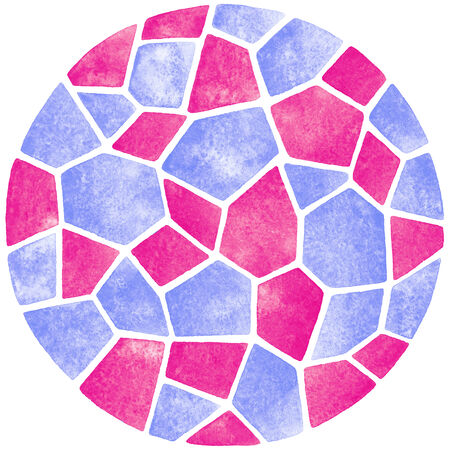 Abstract watercolor background. Round polygonal mosaic pattern. Ceramic tile or inlay stylization. Circle shape.