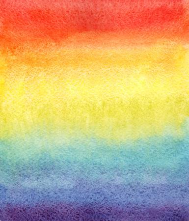 レインボー水彩グラデーション。手描きの背景。