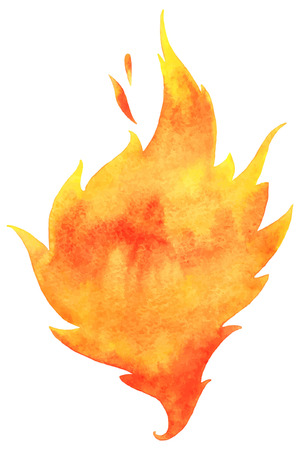 Watercolor vector fire. Tongue of flame with space for text. Hand drawn burning fire silhouette with sparks.