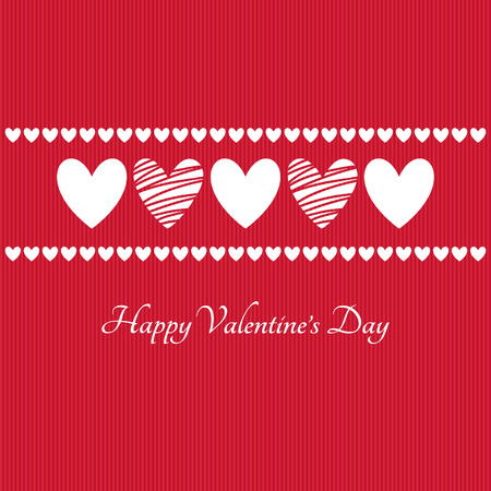 white frame love heart: Horizontal line made of white hearts on red striped background With lettering.
