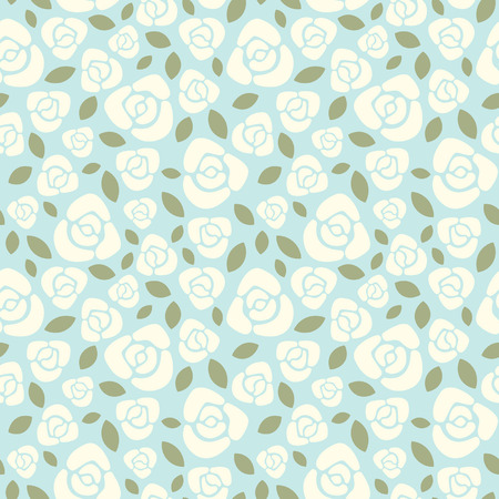 repeated: Roses floral vector seamless pattern. White flowers, blue background. Illustration