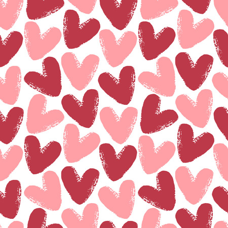 edge design: Hearts seamless vector pattern. Valentines Day background. Brush drawn -  rough, artistic edges.