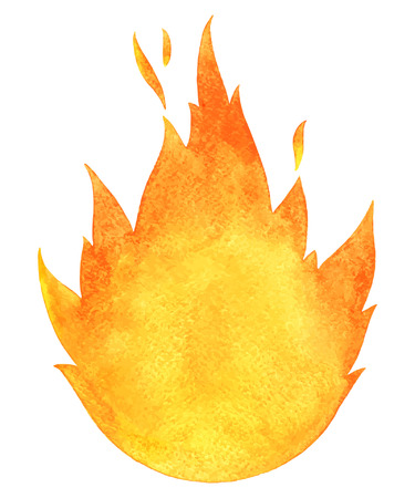 Watercolor vector fire. Tongues of flame with space for text. Hand drawn burning bonfire silhouette with sparks. Vettoriali