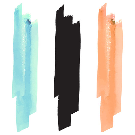 pastel colors: Watercolor vector brush stroke, black silhouette and pastel colors - turquoise and orange