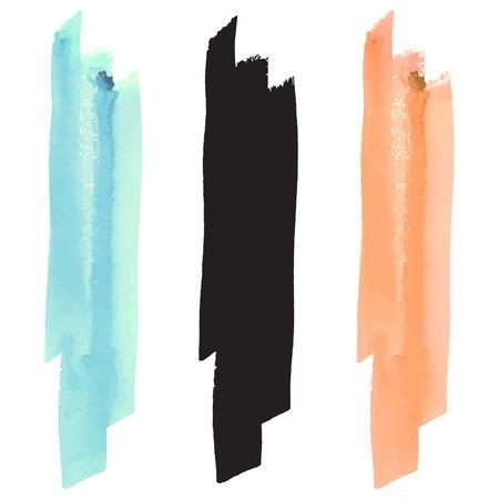 Acuarela pincelada vector, silueta y colores pastel negro - turquesa y naranja