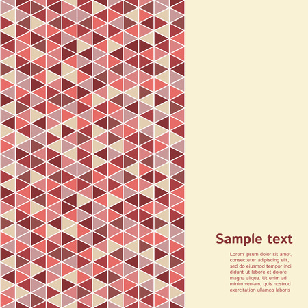 od: Geometrical backdrop with space for text. Vertical border made od triangles mosaic. Trendy color Marsala. Illustration