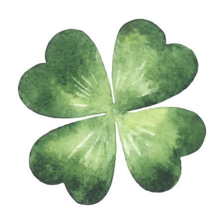 Clover leaf - quarterfoil. Watercolor vector illustration. Patricks Day design element.