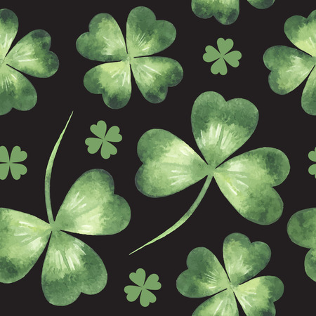 quarterfoil: Vector seamless pattern made of clover leaves. St. Patricks Day background.