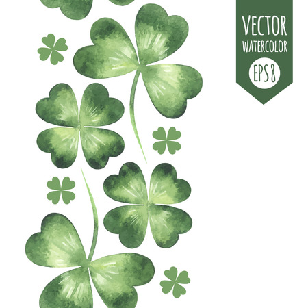 shamrock: Vertical seamless border made of watercolor vector clover leaves pattern. St. Patricks Day design element.