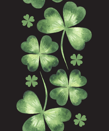 quarterfoil: Vertical seamless border made of watercolor vector clover leaves pattern. St. Patricks Day design element.