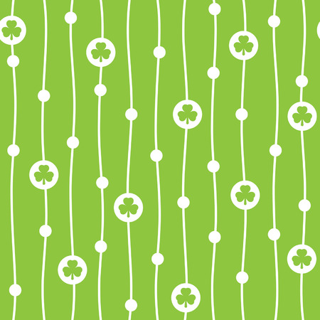 shamrock seamless: Vector seamless pattern with shamrocks and endless wavy vertical stripes. Flat design.