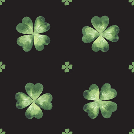 quarterfoil: Vector seamless pattern made of watercolor clover leaves. St. Patrick Day background.