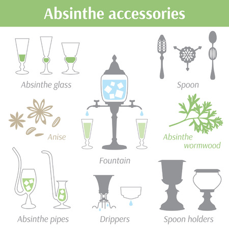 Absinthe accessories vector illustration icons set Ilustração