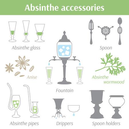 ajenjo: Accesorios Absinthe ilustraci�n vectorial de conjunto de iconos